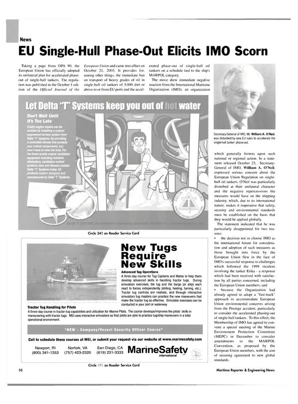 Maritime Reporter Magazine, page 10,  Nov 2003