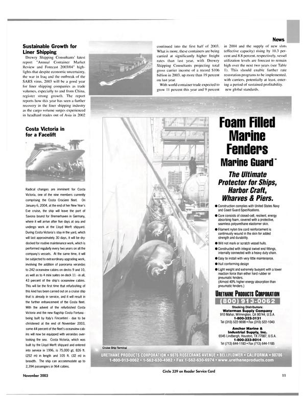 Maritime Reporter Magazine, page 11,  Nov 2003 Victoria