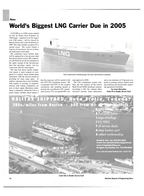 Maritime Reporter Magazine, page 12,  Nov 2003 cargo gas