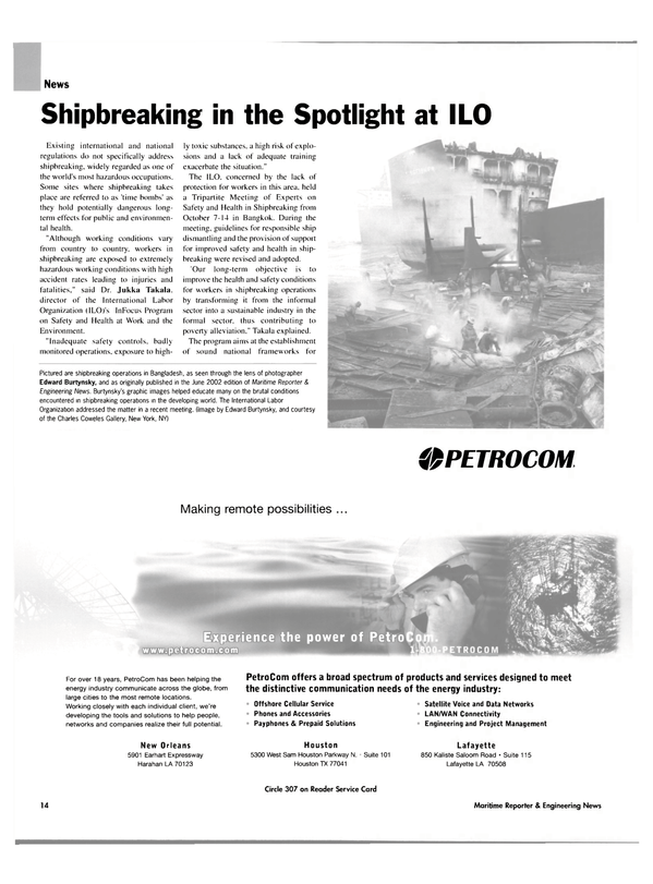 Maritime Reporter Magazine, page 14,  Nov 2003 the Spotlight