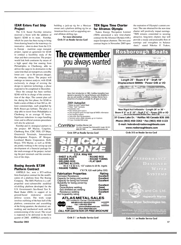 Maritime Reporter Magazine, page 17,  Nov 2003 ROD WELDING ROD