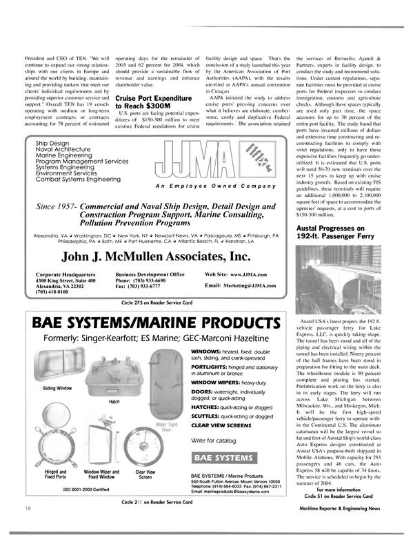 Maritime Reporter Magazine, page 18,  Nov 2003 Pennsylvania