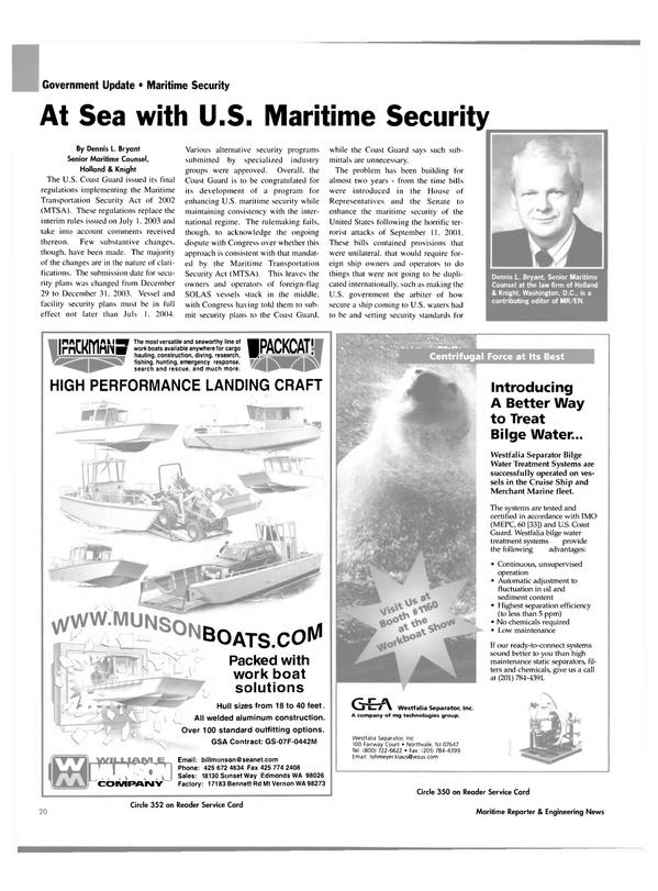 Maritime Reporter Magazine, page 20,  Nov 2003