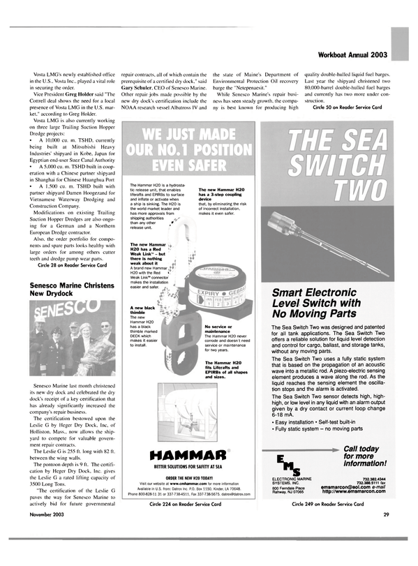 Maritime Reporter Magazine, page 29,  Nov 2003 New Jersey