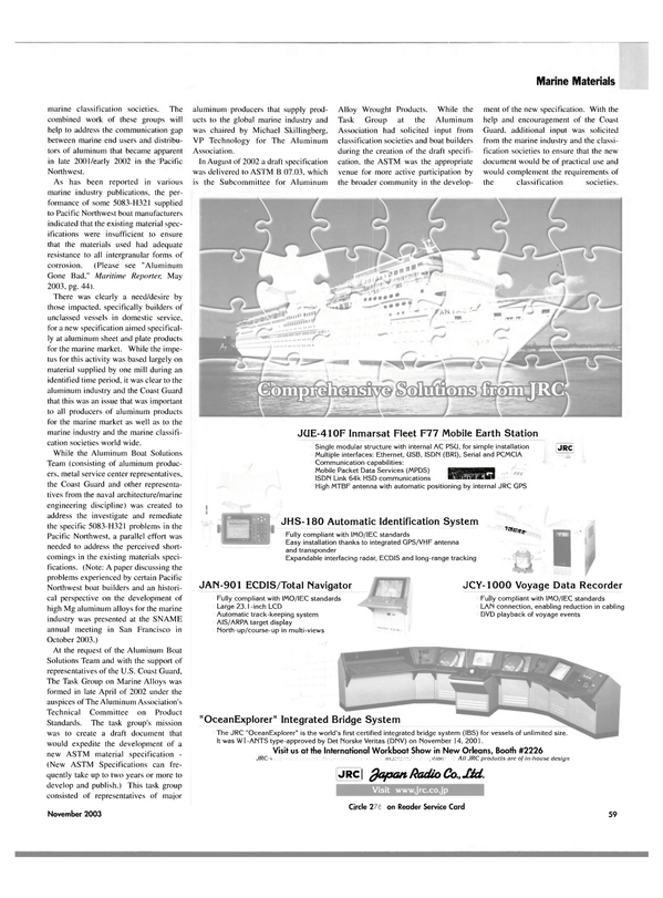 Maritime Reporter Magazine, page 62,  Nov 2003 the SNAME annual