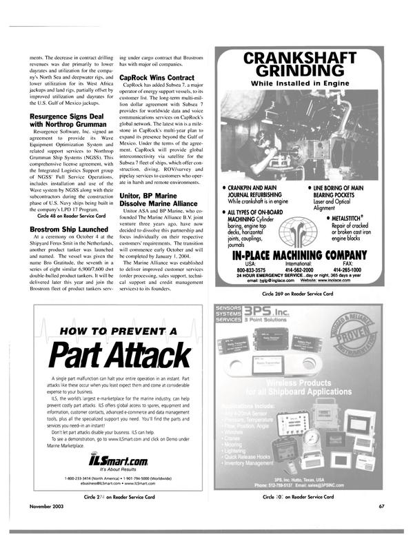 Maritime Reporter Magazine, page 70,  Nov 2003 Gulf of Mexico
