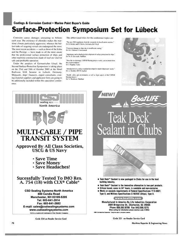 Maritime Reporter Magazine, page 81,  Nov 2003