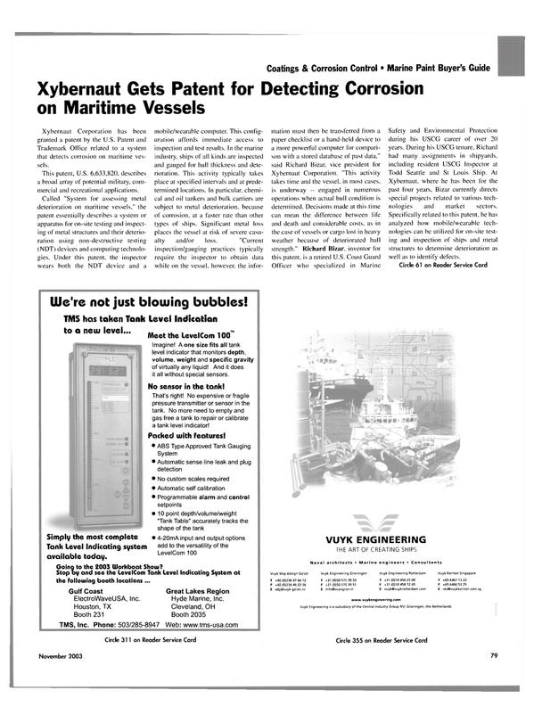 Maritime Reporter Magazine, page 82,  Nov 2003