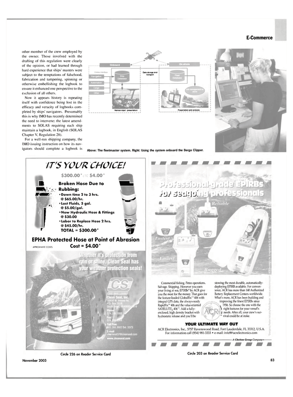 Maritime Reporter Magazine, page 86,  Nov 2003 e - commerce
