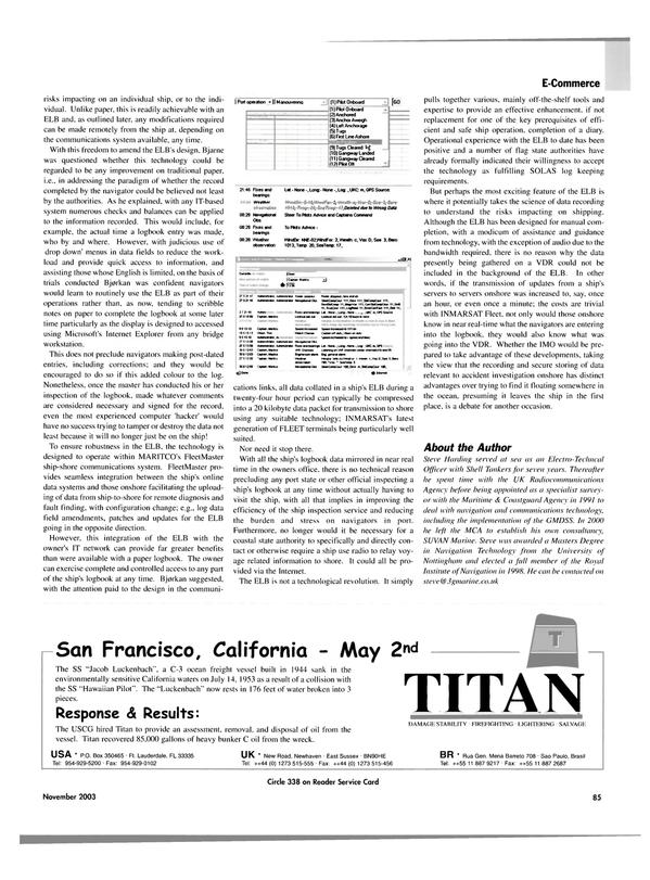 Maritime Reporter Magazine, page 88,  Nov 2003 C3