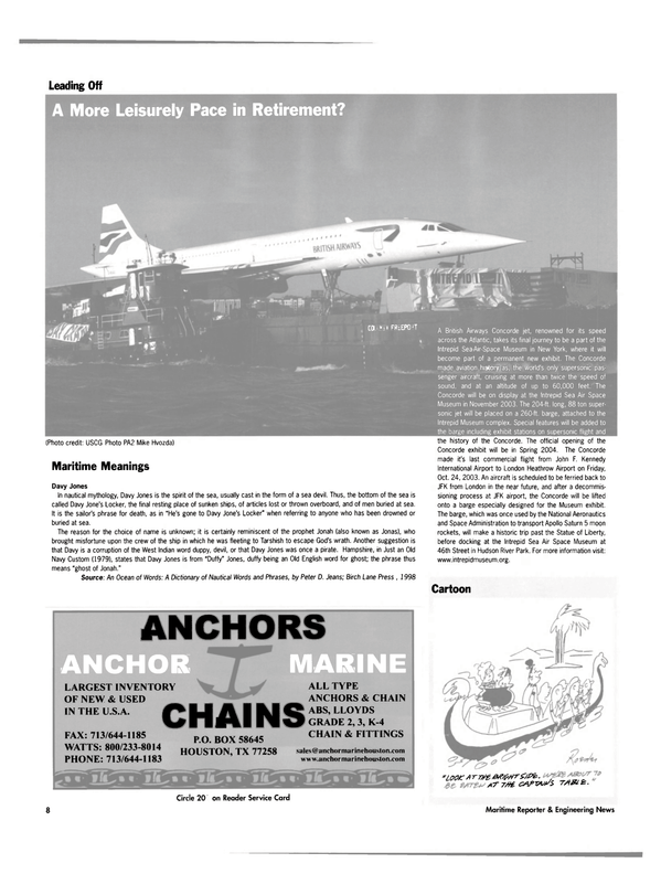 Maritime Reporter Magazine, page 8,  Dec 2003