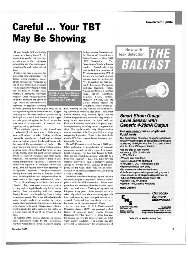 Maritime Reporter Magazine, page 19,  Dec 2003 Dennis L. Bryant