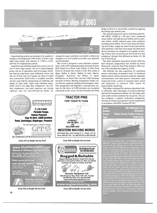 Maritime Reporter Magazine, page 34,  Dec 2003