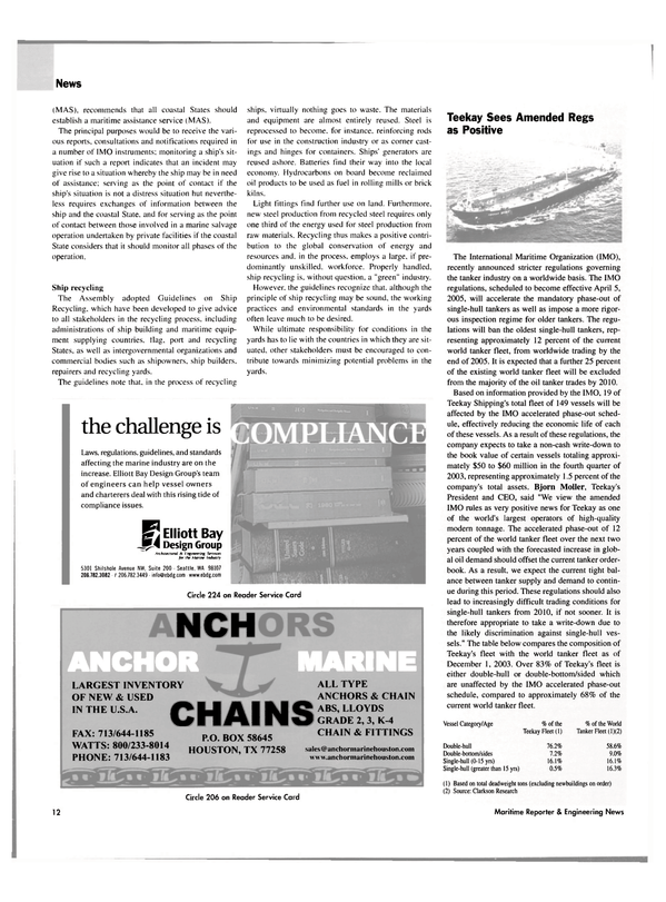 Maritime Reporter Magazine, page 12,  Jan 2004