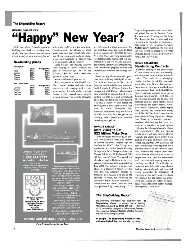 Maritime Reporter Magazine, page 16,  Jan 2004