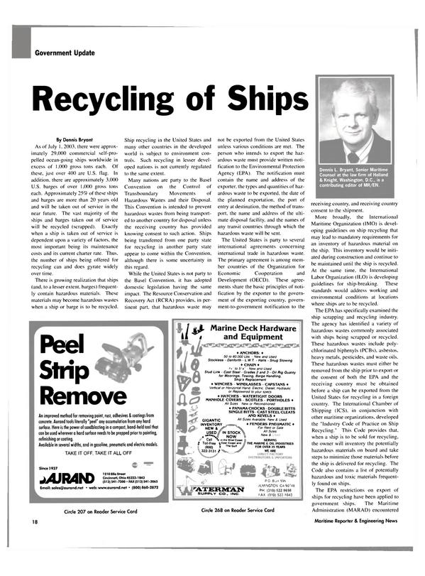 Maritime Reporter Magazine, page 18,  Jan 2004 Dennis Bryant