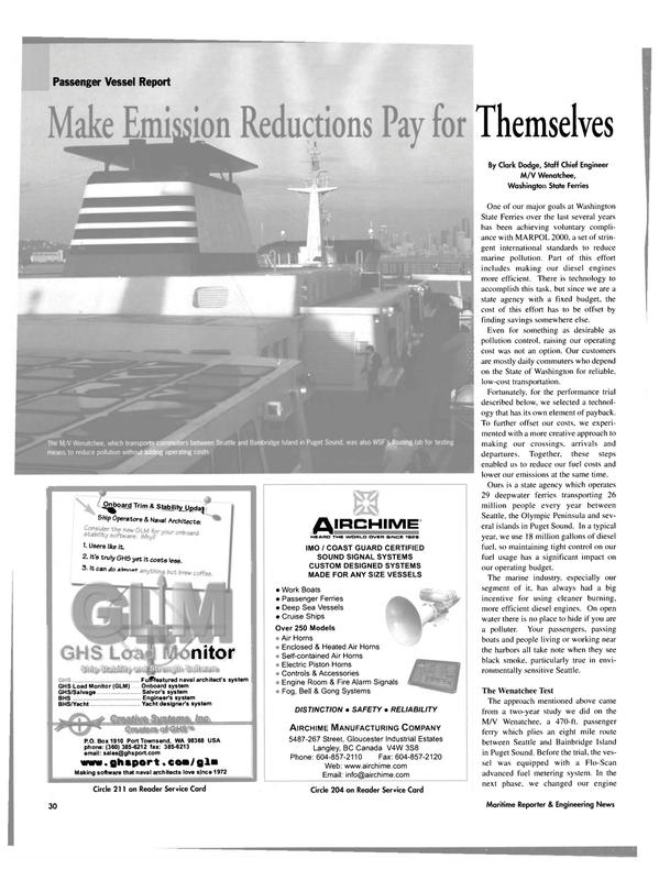 Maritime Reporter Magazine, page 30,  Jan 2004