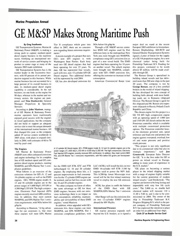 Maritime Reporter Magazine, page 38,  Jan 2004