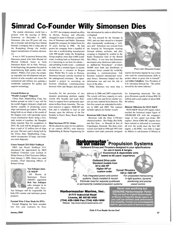 Maritime Reporter Magazine, page 47,  Jan 2004 Chem Tankers Brostrom
