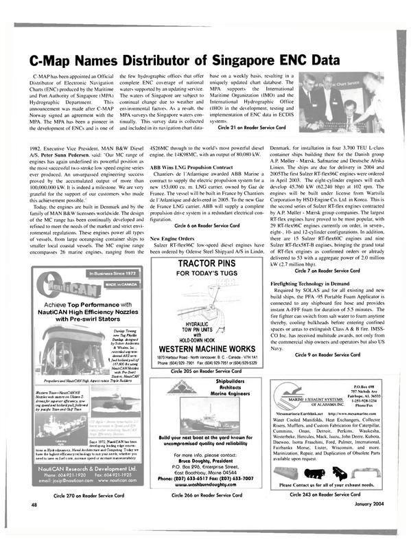 Maritime Reporter Magazine, page 48,  Jan 2004