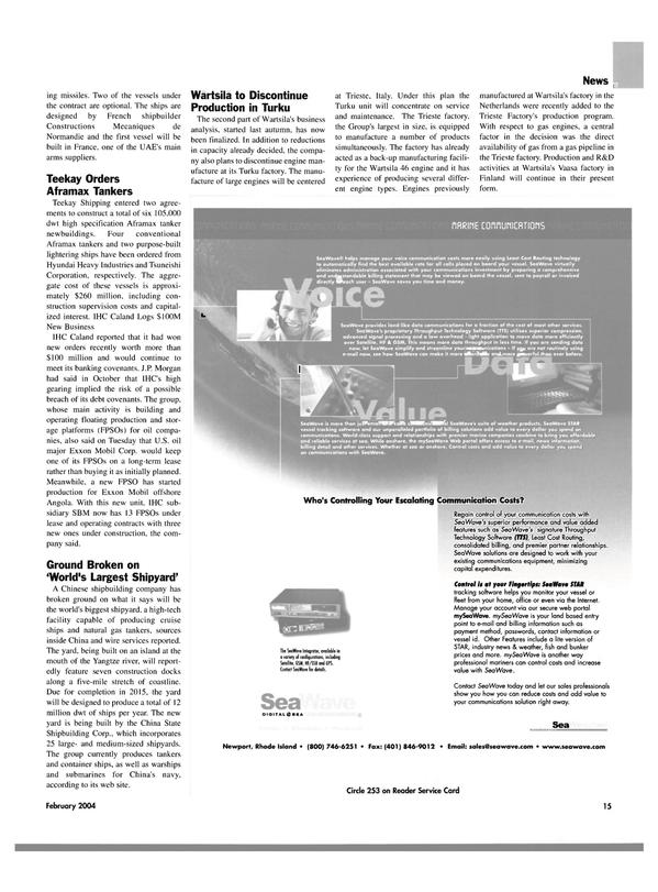 Maritime Reporter Magazine, page 18,  Feb 2004