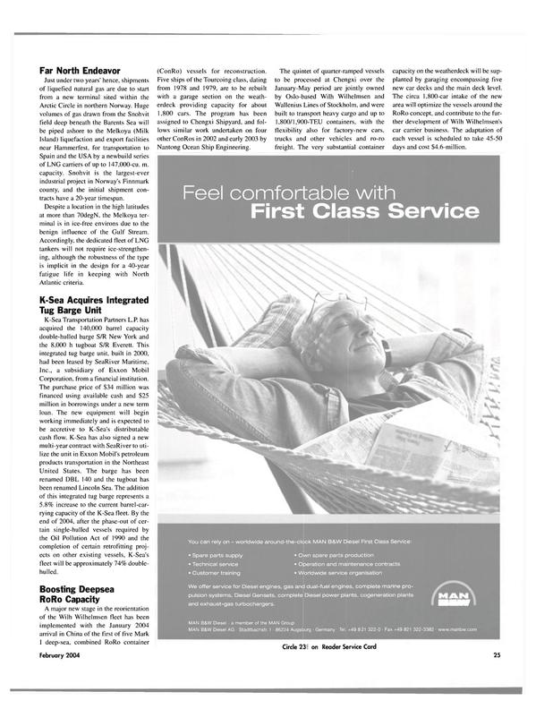 Maritime Reporter Magazine, page 30,  Feb 2004
