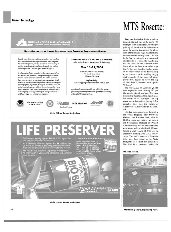Maritime Reporter Magazine, page 31,  Feb 2004