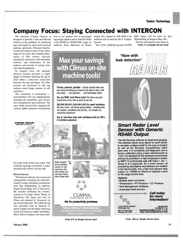 Maritime Reporter Magazine, page 36,  Feb 2004