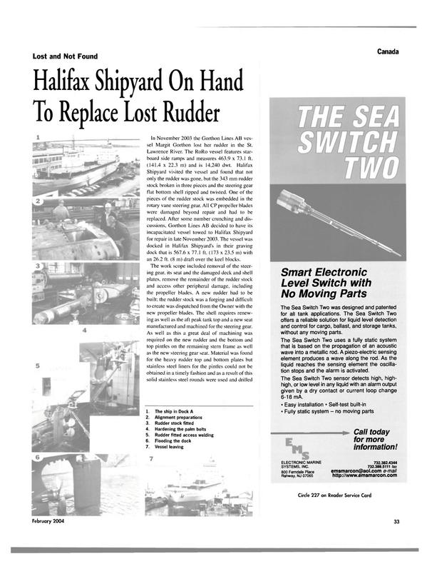 Maritime Reporter Magazine, page 38,  Feb 2004