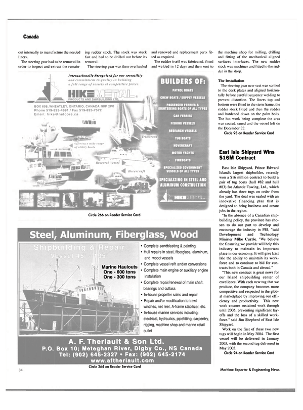 Maritime Reporter Magazine, page 39,  Feb 2004