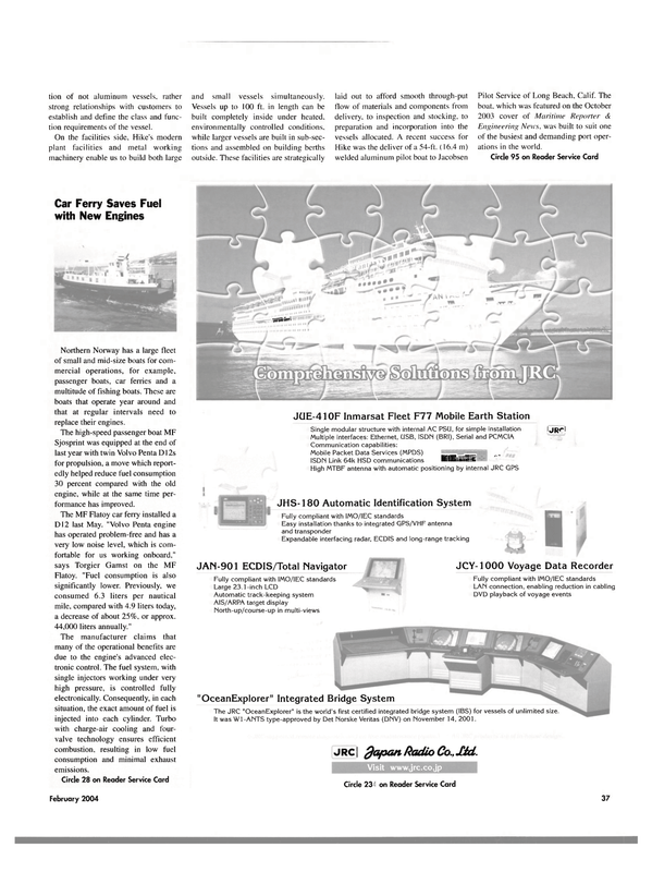 Maritime Reporter Magazine, page 42,  Feb 2004