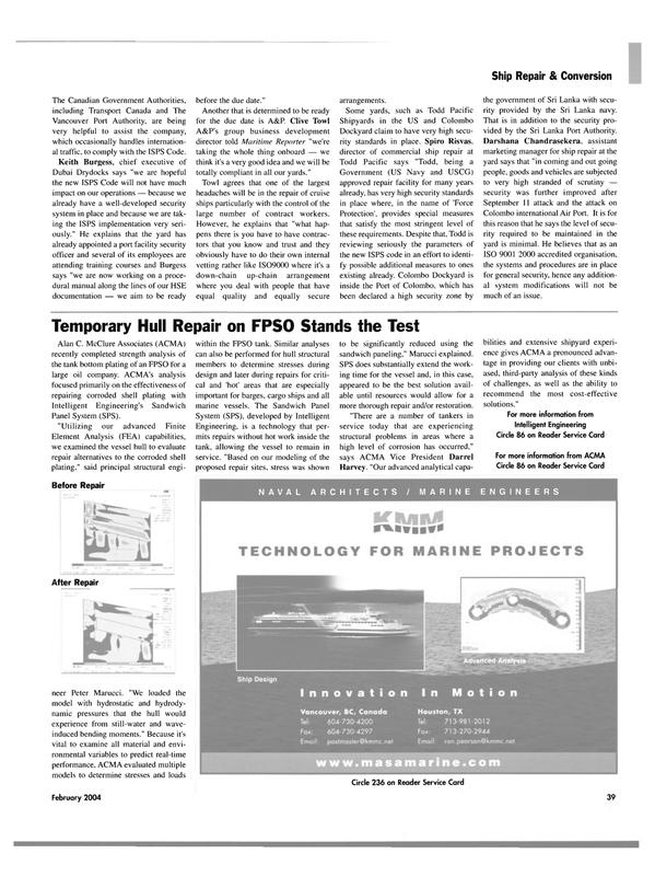 Maritime Reporter Magazine, page 44,  Feb 2004