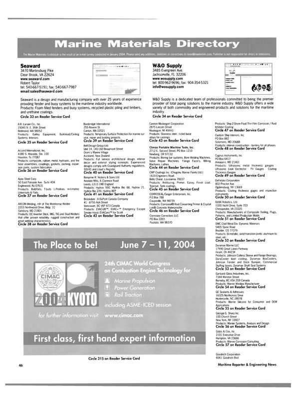 Maritime Reporter Magazine, page 51,  Feb 2004