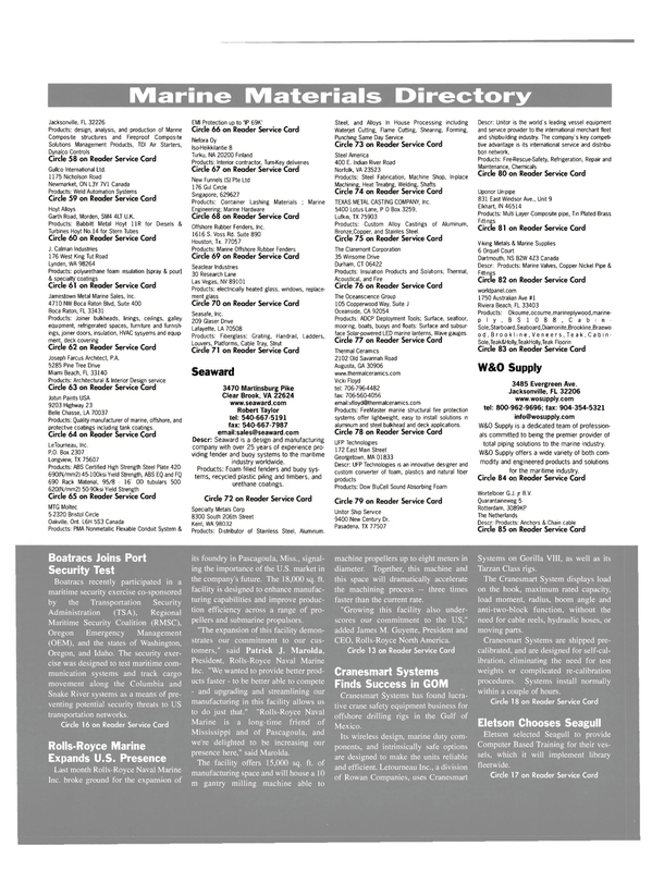 Maritime Reporter Magazine, page 52,  Feb 2004