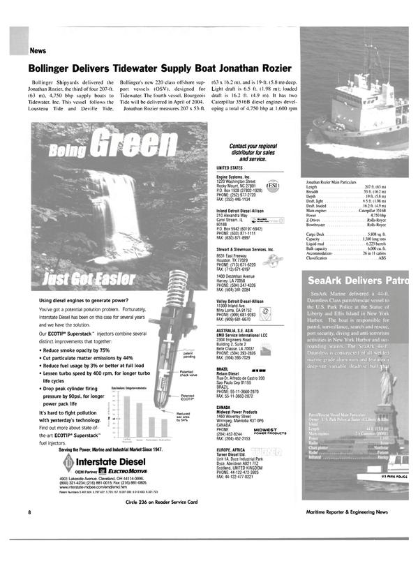 Maritime Reporter Magazine, page 8,  Mar 2004 Illinois