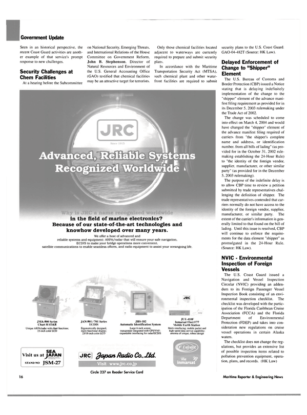 Maritime Reporter Magazine, page 16,  Mar 2004 automatic identification system