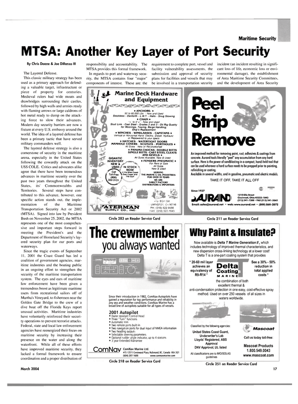 Maritime Reporter Magazine, page 17,  Mar 2004 east coast