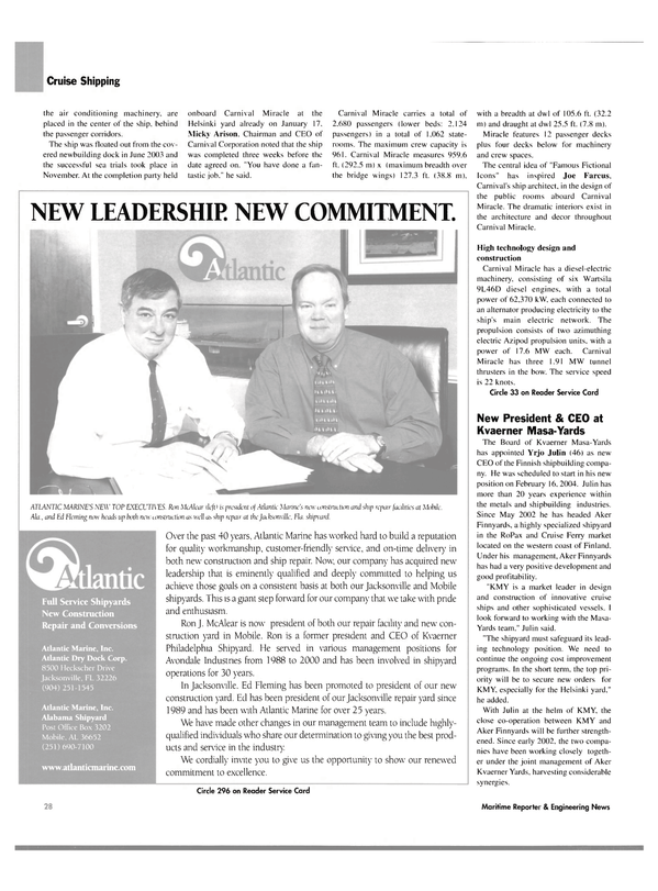 Maritime Reporter Magazine, page 28,  Mar 2004