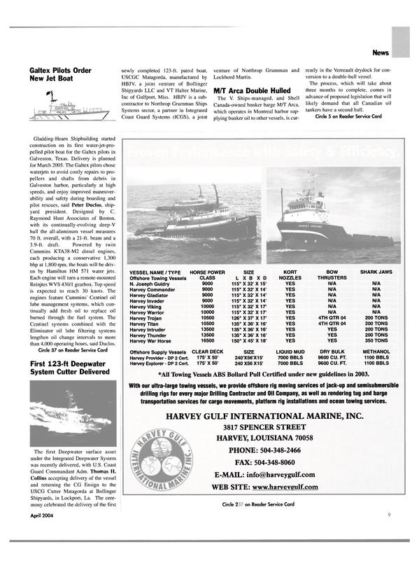 Maritime Reporter Magazine, page 9,  Apr 2004 Harvey Thunder