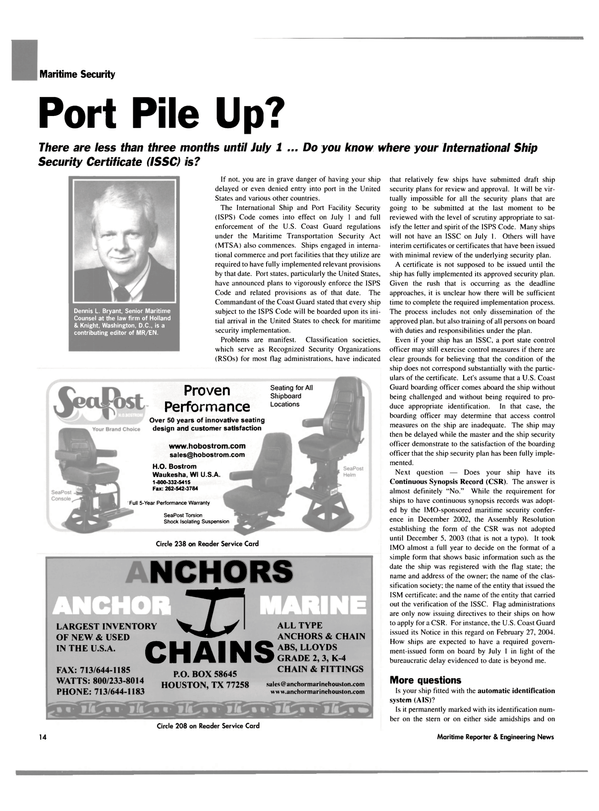 Maritime Reporter Magazine, page 14,  Apr 2004 Full 5-Year Performance Warranty SeaPost Torsion Shock Isolating Suspension