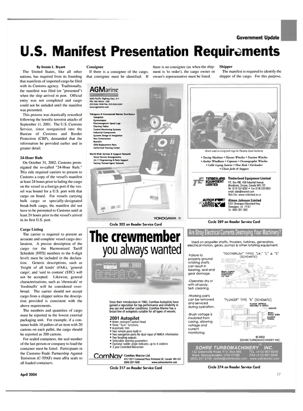 Maritime Reporter Magazine, page 17,  Apr 2004 REMOVABLE IN SERVICE