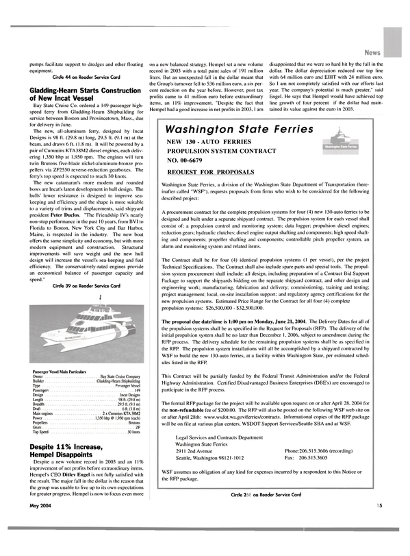 Maritime Reporter Magazine, page 17,  May 2004 Florida