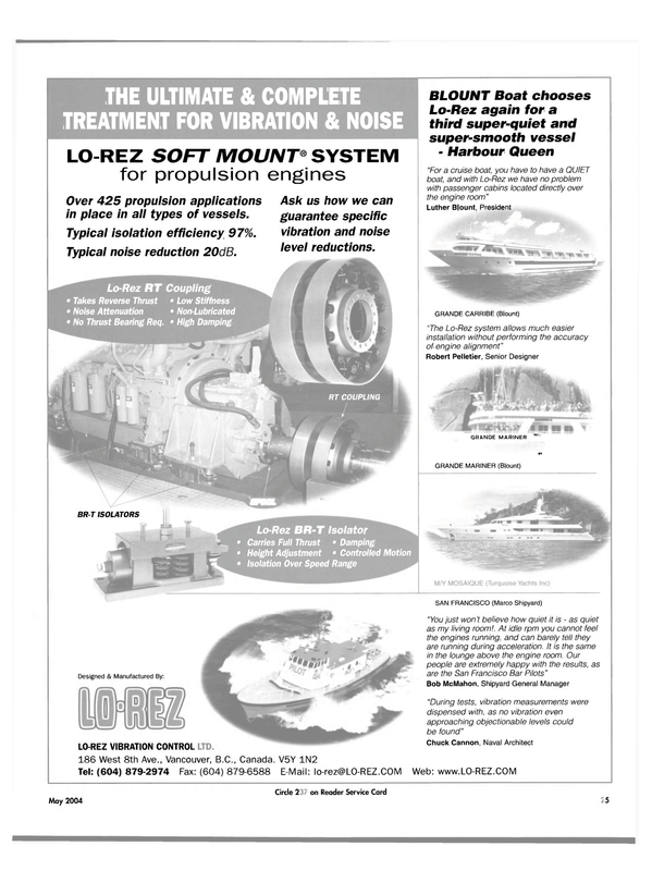 Maritime Reporter Magazine, page 29,  May 2004 Marco Shipyard