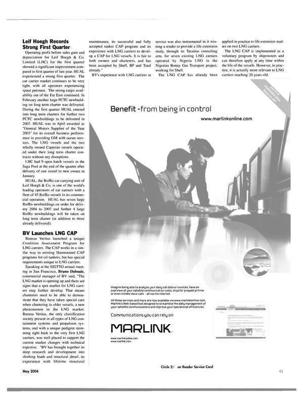 Maritime Reporter Magazine, page 47,  May 2004