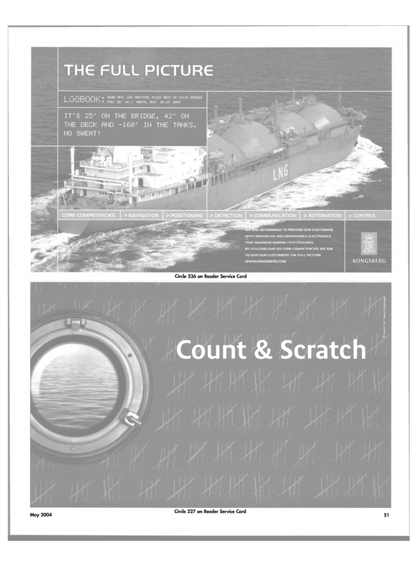 Maritime Reporter Magazine, page 55,  May 2004 ON THE BRIDGE