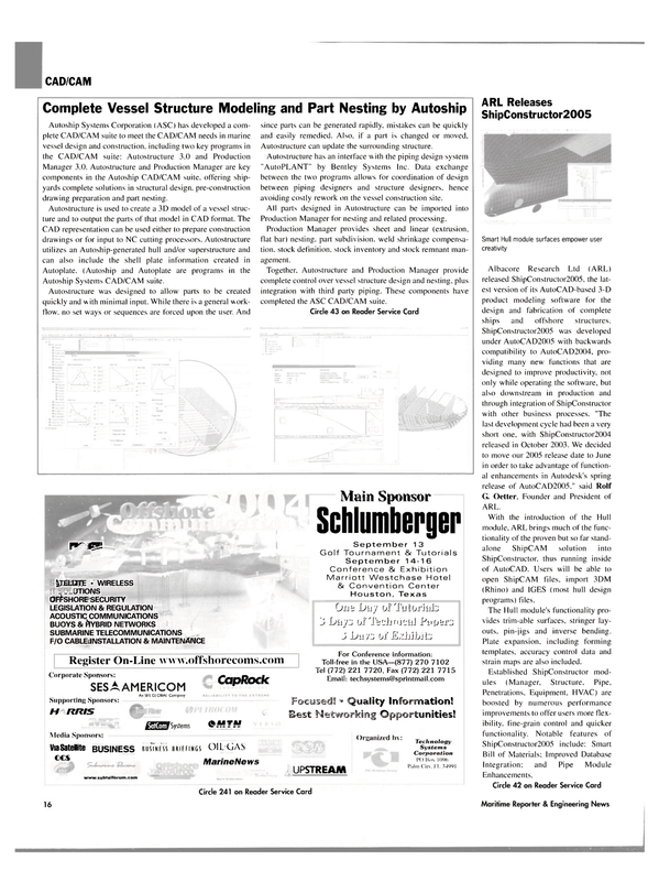 Maritime Reporter Magazine, page 16,  Jul 2004 ShipConstructor2005 Smart Hull