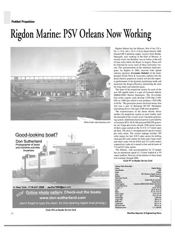 Maritime Reporter Magazine, page 34,  Jul 2004 Don Sutherland