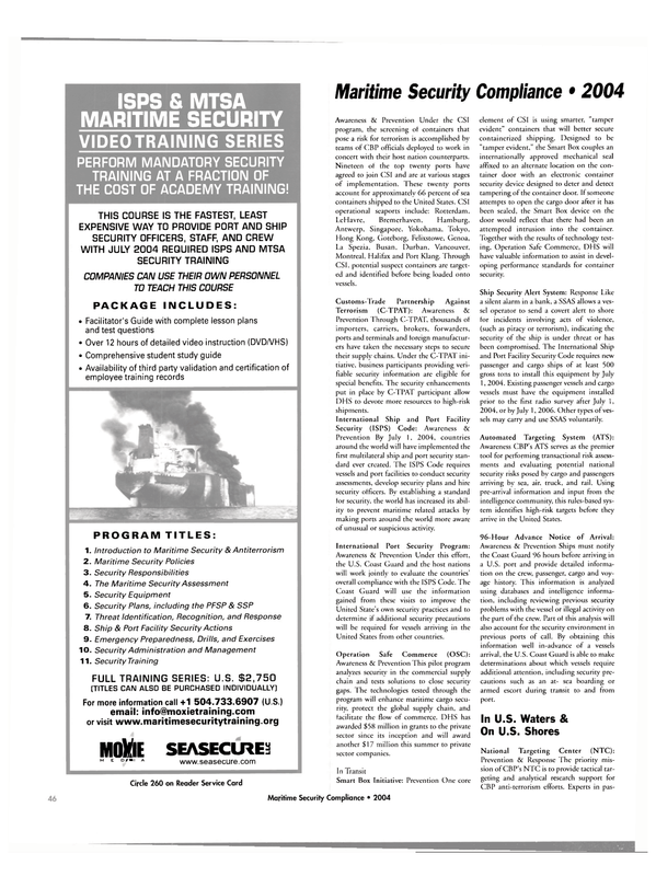 Maritime Reporter Magazine, page 46,  Jul 2004 technology test