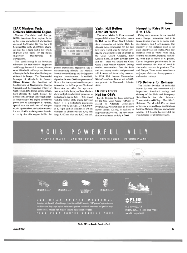 Maritime Reporter Magazine, page 13,  Aug 2004