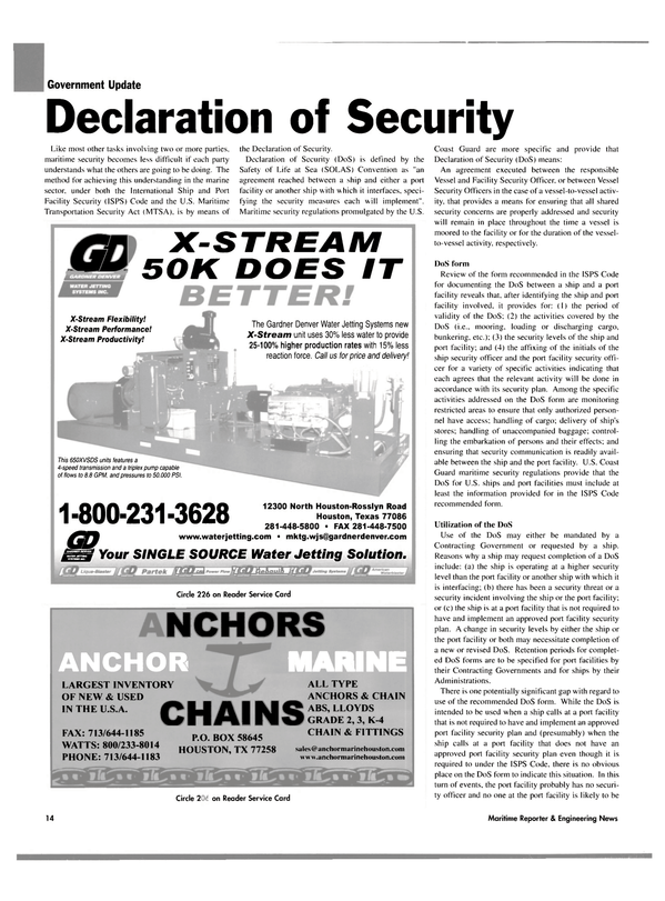Maritime Reporter Magazine, page 14,  Aug 2004 Port Facility Security